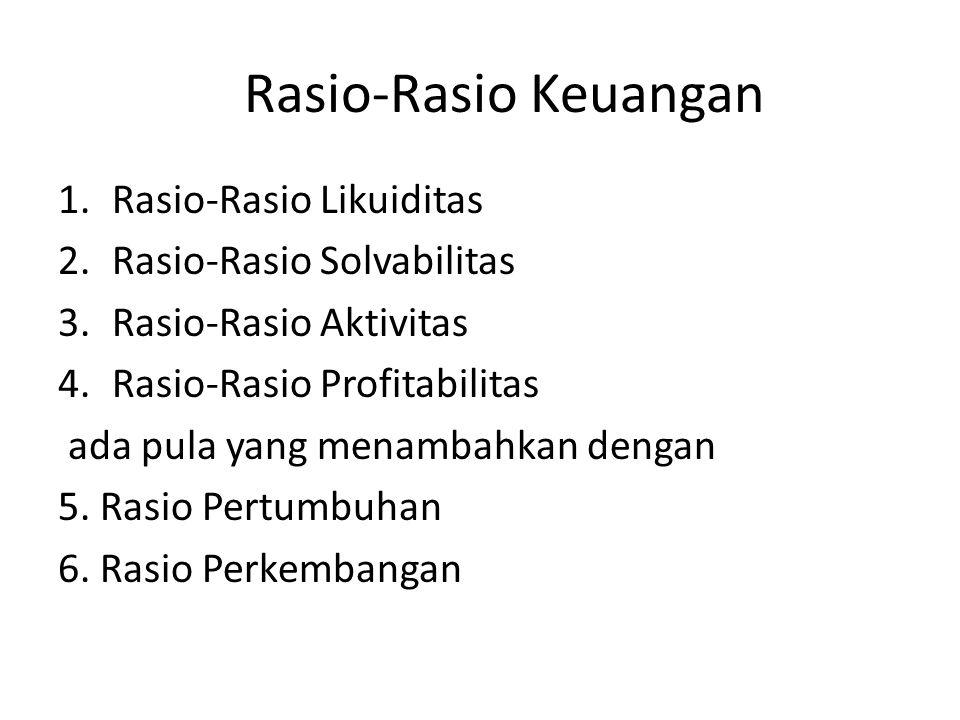 1.Rasio-Rasio Likuiditas 2.Rasio-Rasio Solvabilitas 3.Rasio-Rasio Aktivitas 4.Rasio-Rasio Profitabilitas ada pula yang menambahkan dengan 5. Rasio Per