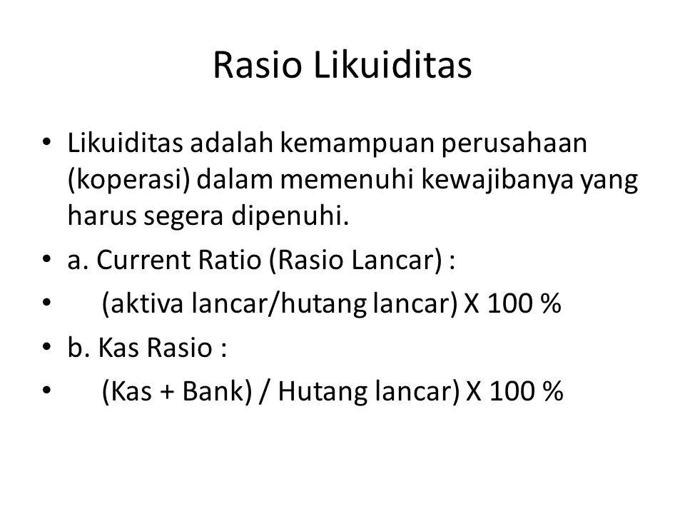 Likuiditas adalah kemampuan perusahaan (koperasi) dalam memenuhi kewajibanya yang harus segera dipenuhi. a. Current Ratio (Rasio Lancar) : (aktiva lan