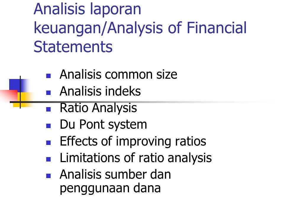 Analisis laporan keuangan/Analysis of Financial Statements Analisis common size Analisis indeks Ratio Analysis Du Pont system Effects of improving ratios Limitations of ratio analysis Analisis sumber dan penggunaan dana