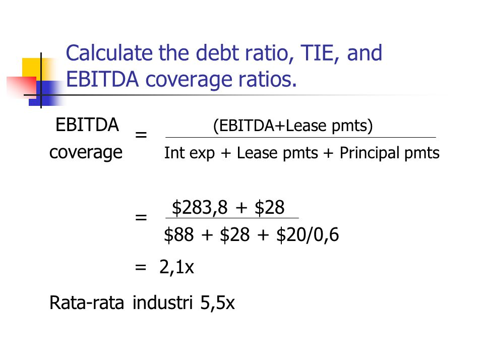 Calculate the debt ratio, TIE, and EBITDA coverage ratios. EBITDA = (EBITDA+Lease pmts) coverage Int exp + Lease pmts + Principal pmts = $283,8 + $28