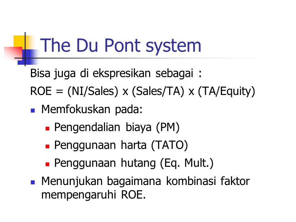 The Du Pont system Bisa juga di ekspresikan sebagai : ROE = (NI/Sales) x (Sales/TA) x (TA/Equity) Memfokuskan pada: Pengendalian biaya (PM) Penggunaan harta (TATO) Penggunaan hutang (Eq.