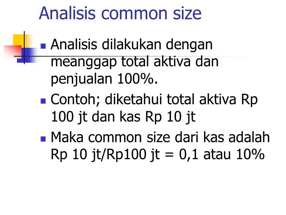 Analisis common size Analisis dilakukan dengan meanggap total aktiva dan penjualan 100%.