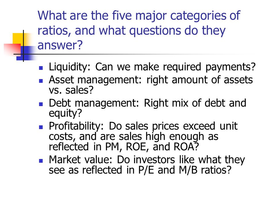 What are the five major categories of ratios, and what questions do they answer? Liquidity: Can we make required payments? Asset management: right amo