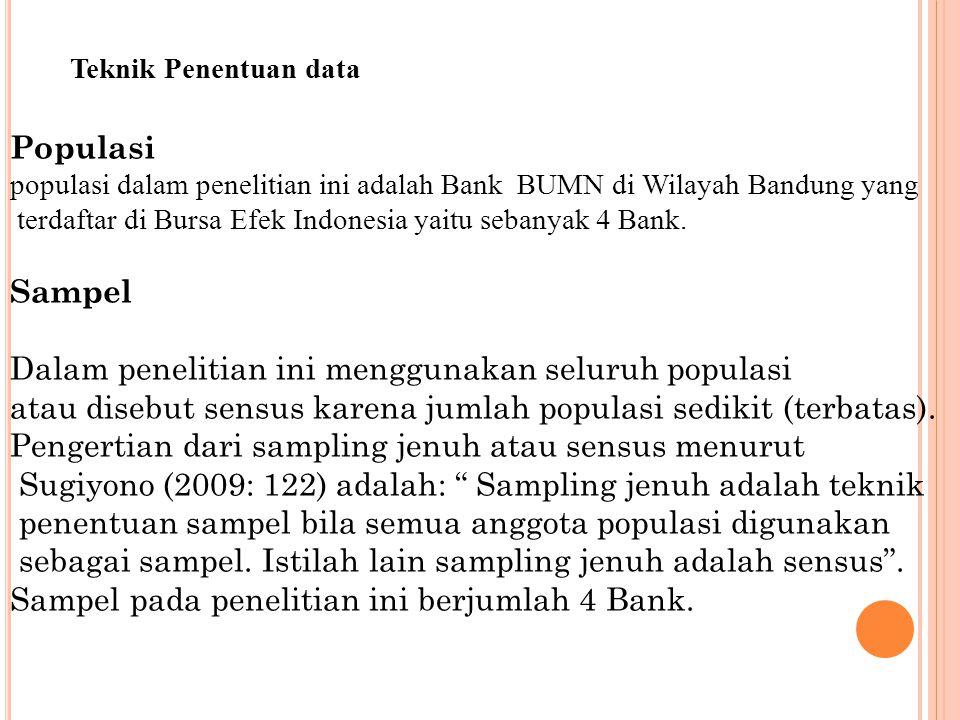 Teknik Penentuan data Populasi populasi dalam penelitian ini adalah Bank BUMN di Wilayah Bandung yang terdaftar di Bursa Efek Indonesia yaitu sebanyak