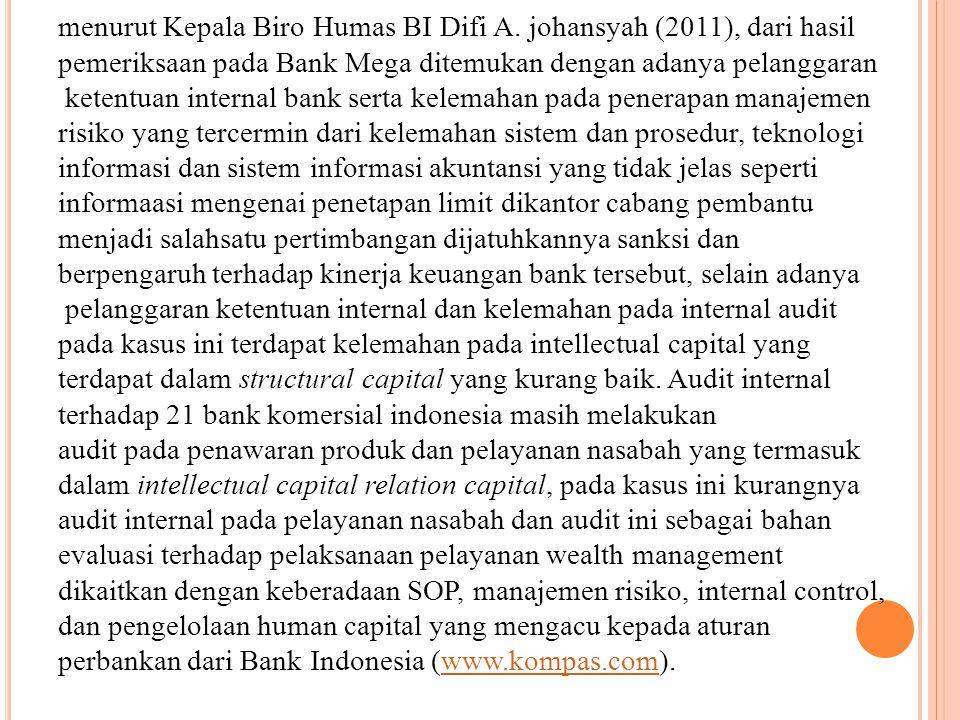menurut Kepala Biro Humas BI Difi A. johansyah (2011), dari hasil pemeriksaan pada Bank Mega ditemukan dengan adanya pelanggaran ketentuan internal ba
