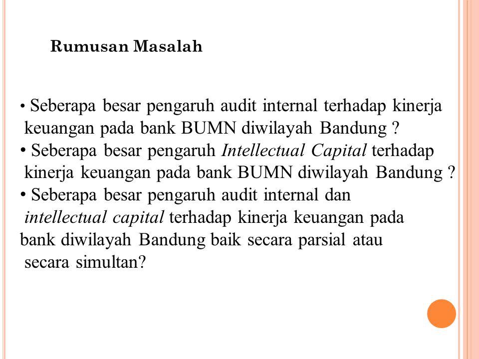 Rumusan Masalah Seberapa besar pengaruh audit internal terhadap kinerja keuangan pada bank BUMN diwilayah Bandung ? Seberapa besar pengaruh Intellectu