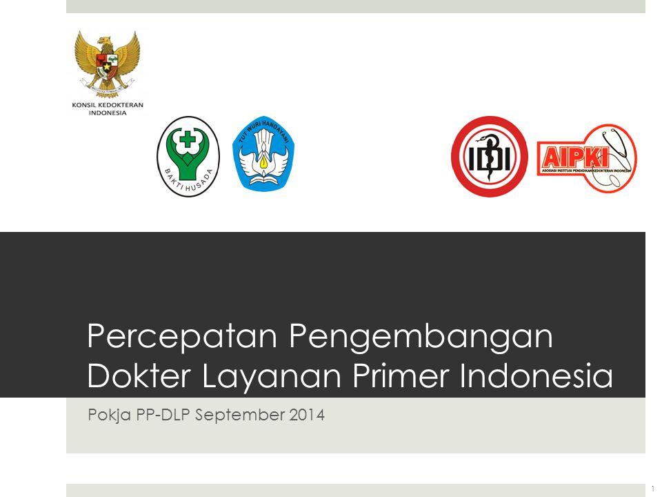 Percepatan Pengembangan Dokter Layanan Primer Indonesia Pokja PP-DLP September 2014 1