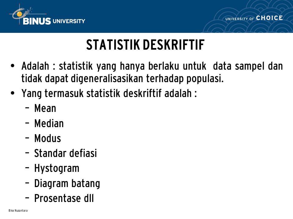 Bina Nusantara STATISTIK DESKRIFTIF Mean: nilai rata-rata.