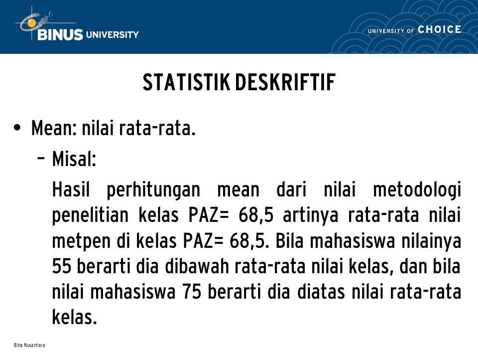 Bina Nusantara STATISTIK DESKRIFTIF Mean: nilai rata-rata. – Misal: Hasil perhitungan mean dari nilai metodologi penelitian kelas PAZ= 68,5 artinya ra