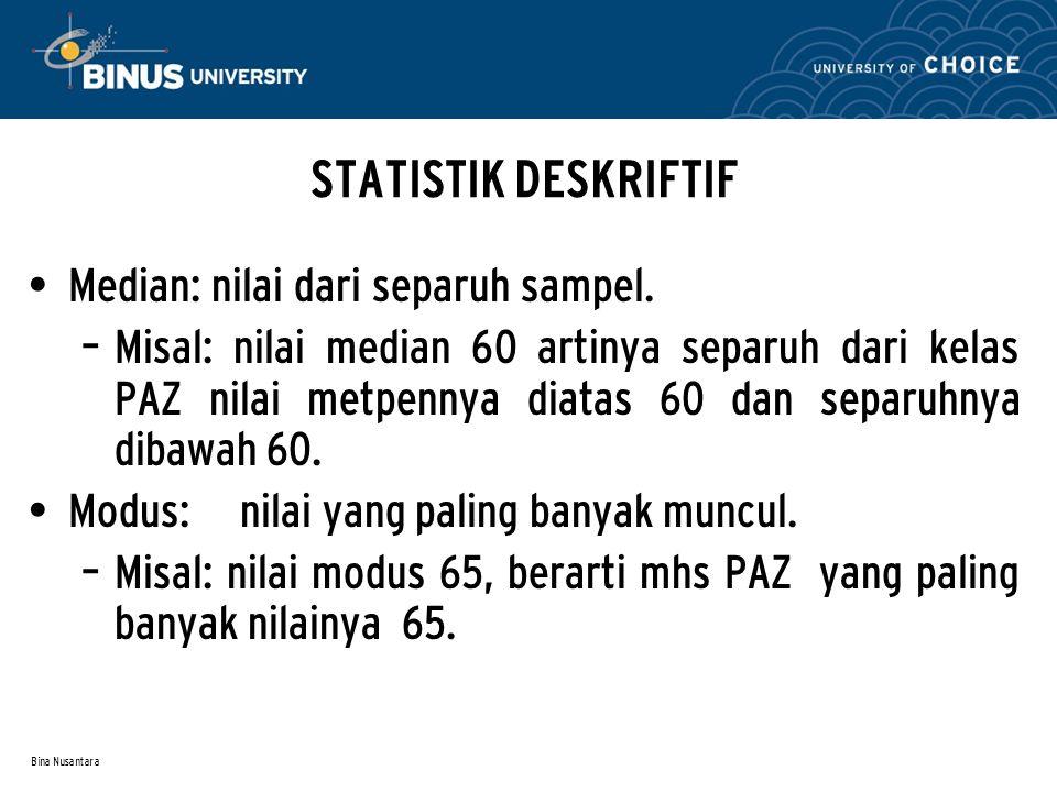 Bina Nusantara STATISTIK DESKRIFTIF Median: nilai dari separuh sampel. – Misal: nilai median 60 artinya separuh dari kelas PAZ nilai metpennya diatas