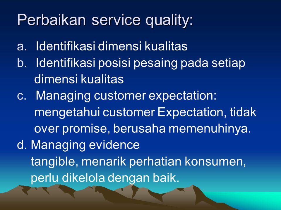 Perbaikan service quality: a.Identifikasi dimensi kualitas b.Identifikasi posisi pesaing pada setiap dimensi kualitas c.Managing customer expectation: