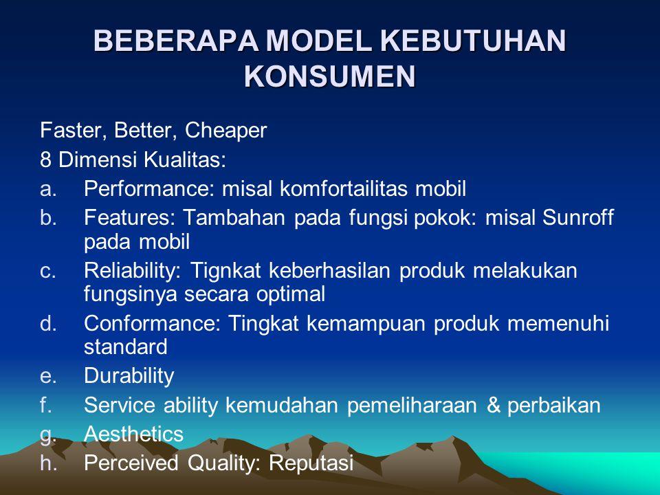 BERRY, PARASURAMAN & VALERIE: A.Reliability: Kemampuan menghasilkan performance secara konsisten B.