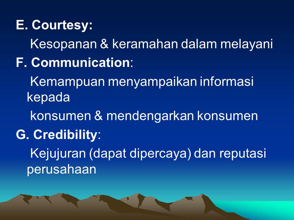 E. Courtesy: Kesopanan & keramahan dalam melayani F. Communication: Kemampuan menyampaikan informasi kepada konsumen & mendengarkan konsumen G. Credib