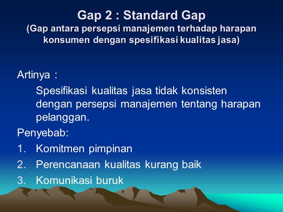 Gap 3: Delivery Gap (Gap antara spesifikasi kualitas jasa dan penyampaian jasa) Artinya : Spesifikasi kualitas tidak terpenuhi oleh kinerja dalam proses produksi dan penyampaian jasa.