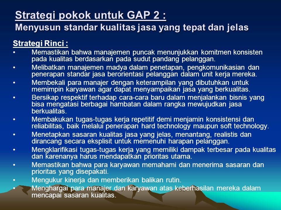 Strategi pokok untuk GAP 3 : Memastikan bahwa kinerja jasa sesuai dengan standar Strategi Rinci (1): Mengklarifikasi peranan setiap karyawan melalui deskripsi kerja yang jelas dan rinci.