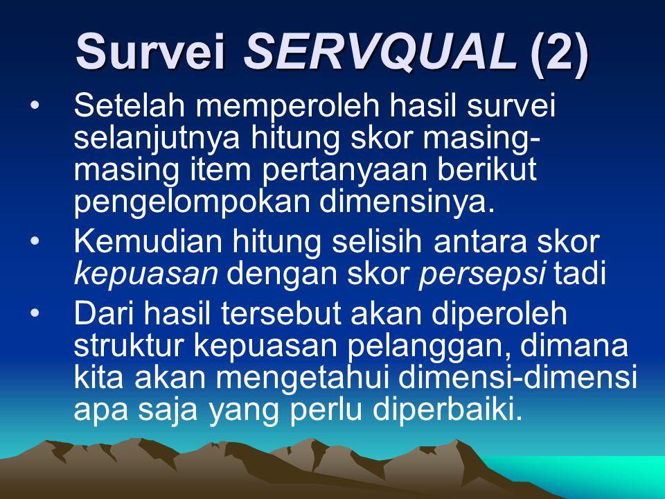 Survei SERVQUAL (2) Setelah memperoleh hasil survei selanjutnya hitung skor masing- masing item pertanyaan berikut pengelompokan dimensinya. Kemudian
