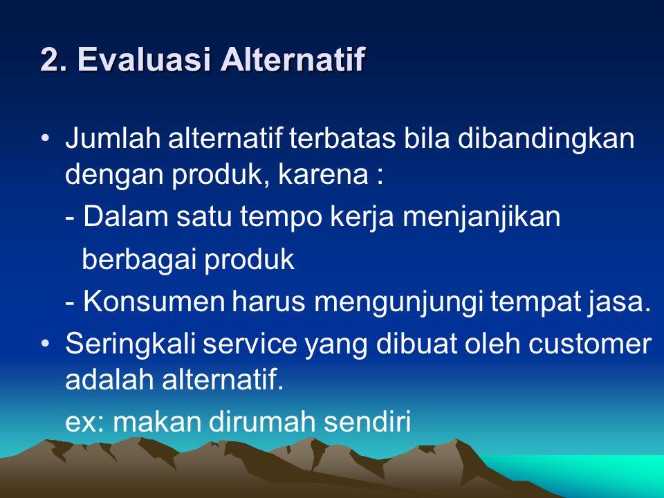 2. Evaluasi Alternatif Jumlah alternatif terbatas bila dibandingkan dengan produk, karena : - Dalam satu tempo kerja menjanjikan berbagai produk - Kon