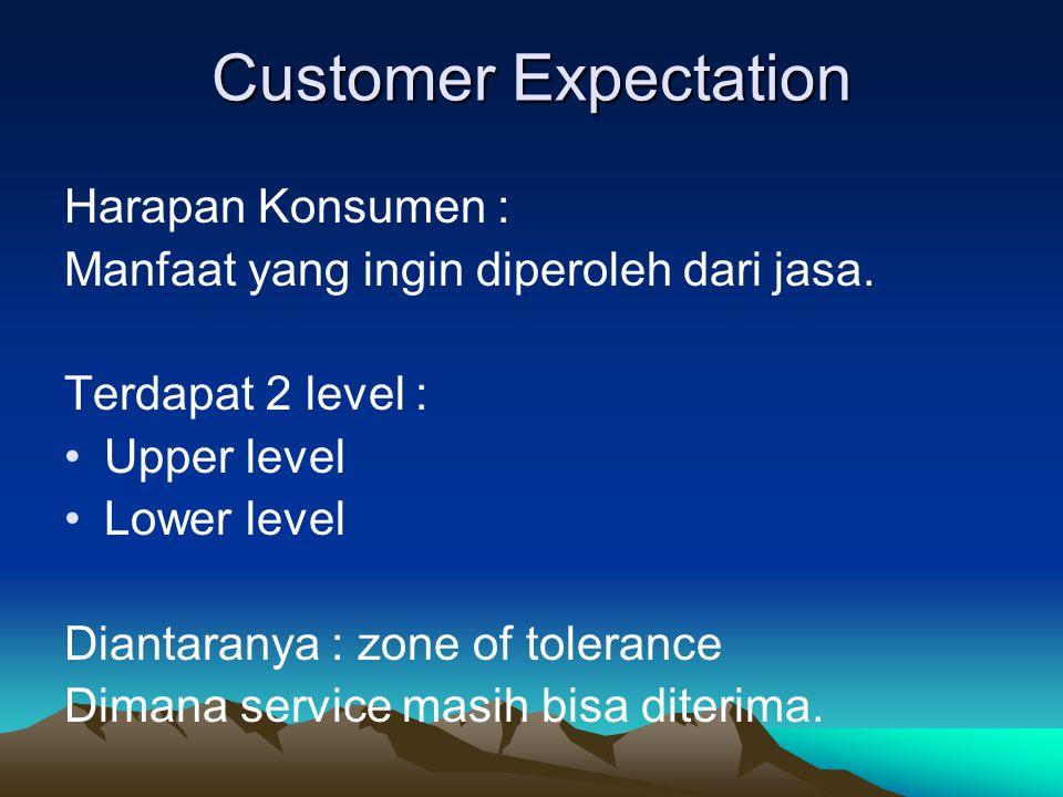 Setiap customer memiliki zone of tolerance yang beda (ex: ada yang mau menunggu lama, ada yang tidak) Zone of tolerance berbeda untuk setiap attribute / dimensi jasa.
