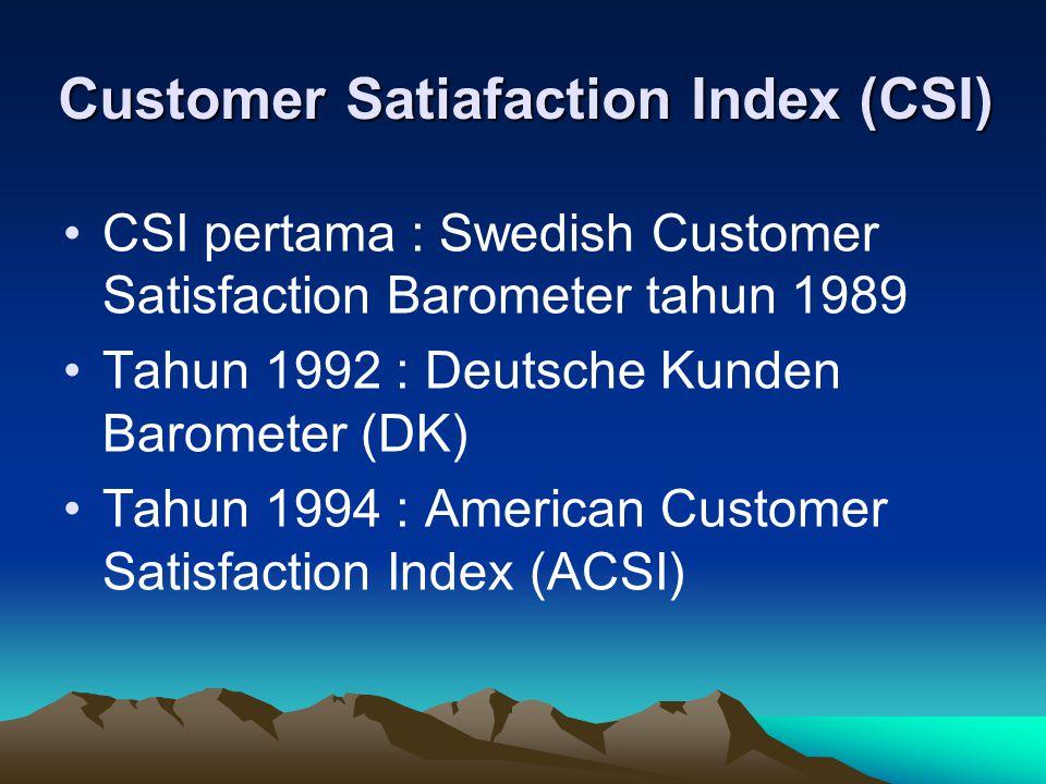 American Customer Satisfaction Index (ACSI) Dikembangkan oleh national quality research center di University of Michigan.