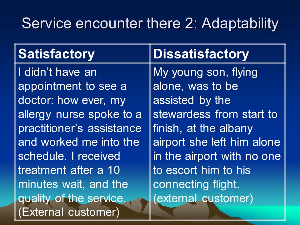 Service encounter there 2: Adaptability SatisfactoryDissatisfactory I didn't have an appointment to see a doctor: how ever, my allergy nurse spoke to
