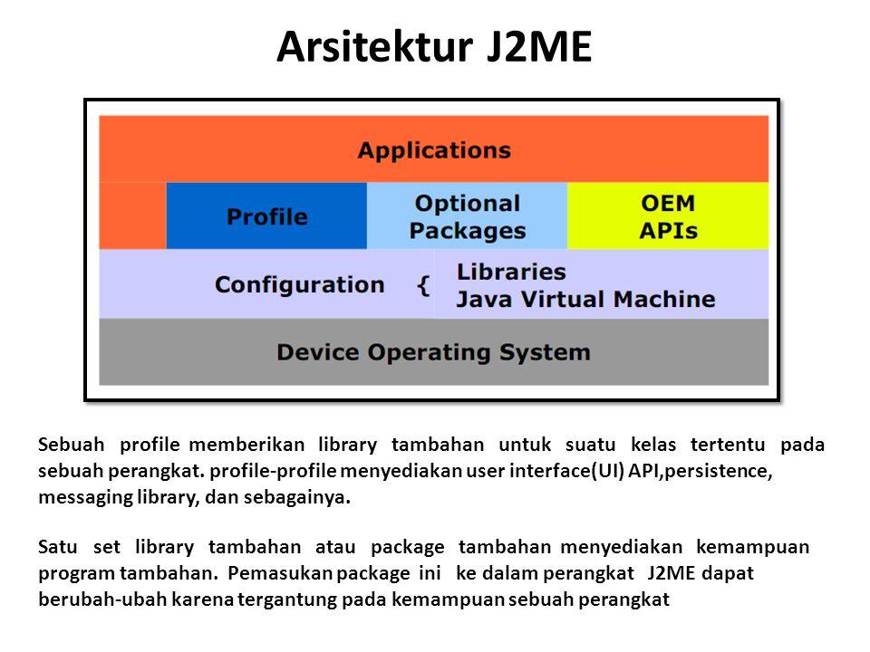 Arsitektur J2ME Sebuah profile memberikan library tambahan untuk suatu kelas tertentu pada sebuah perangkat. profile-profile menyediakan user interfac