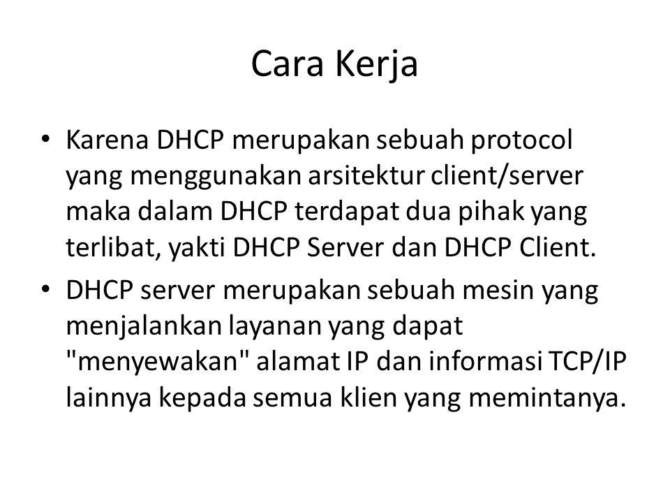 Cara Kerja Karena DHCP merupakan sebuah protocol yang menggunakan arsitektur client/server maka dalam DHCP terdapat dua pihak yang terlibat, yakti DHC
