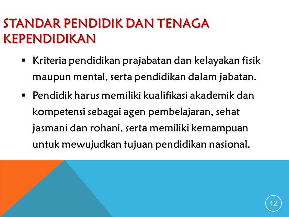 STANDAR PENDIDIK DAN TENAGA KEPENDIDIKAN 12  Kriteria pendidikan prajabatan dan kelayakan fisik maupun mental, serta pendidikan dalam jabatan.