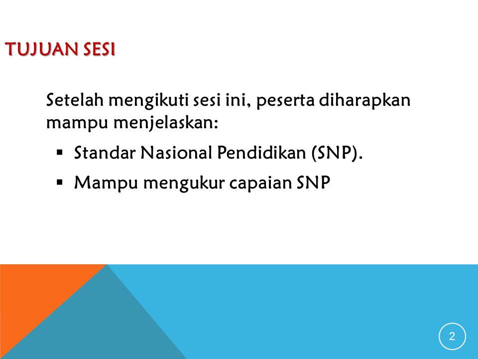 2 TUJUAN SESI Setelah mengikuti sesi ini, peserta diharapkan mampu menjelaskan:  Standar Nasional Pendidikan (SNP).