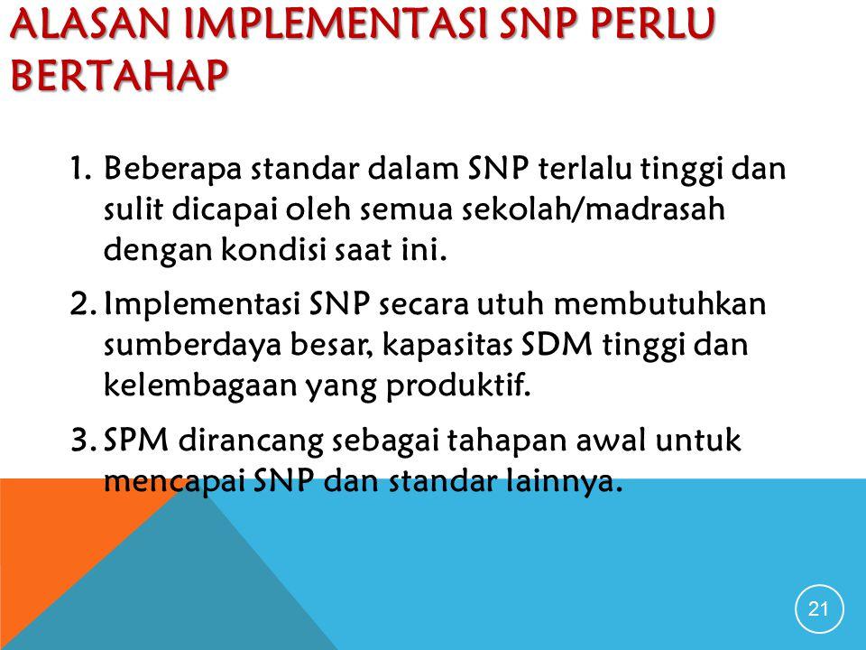 ALASAN IMPLEMENTASI SNP PERLU BERTAHAP 21 1.Beberapa standar dalam SNP terlalu tinggi dan sulit dicapai oleh semua sekolah/madrasah dengan kondisi saat ini.