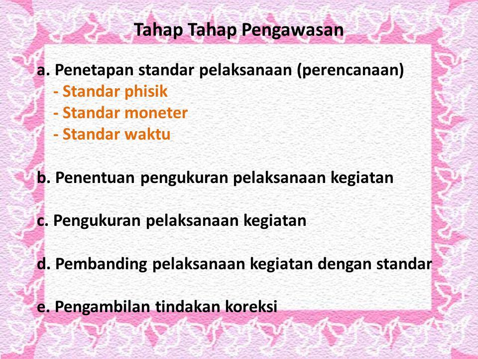 Tahap Tahap Pengawasan a. Penetapan standar pelaksanaan (perencanaan) - Standar phisik - Standar moneter - Standar waktu b. Penentuan pengukuran pelak