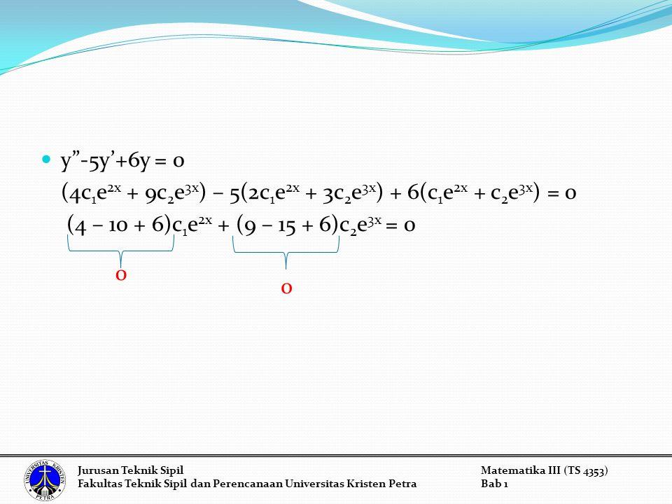 y -5y'+6y = 0 (4c 1 e 2x + 9c 2 e 3x ) – 5(2c 1 e 2x + 3c 2 e 3x ) + 6(c 1 e 2x + c 2 e 3x ) = 0 (4 – 10 + 6)c 1 e 2x + (9 – 15 + 6)c 2 e 3x = 0 0 0 Jurusan Teknik SipilMatematika III (TS 4353) Fakultas Teknik Sipil dan Perencanaan Universitas Kristen PetraBab 1