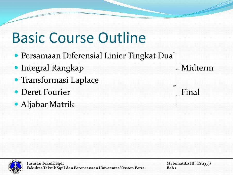 Basic Course Outline Persamaan Diferensial Linier Tingkat Dua Integral Rangkap Midterm Transformasi Laplace Deret Fourier Final Aljabar Matrik Jurusan Teknik SipilMatematika III (TS 4353) Fakultas Teknik Sipil dan Perencanaan Universitas Kristen PetraBab 1