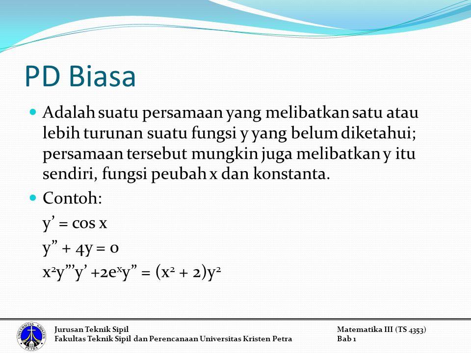 Example 2: y + 4y' + 13y = 0 substitute k 2 + 4k + 13 = 0 = -2 ± 3i y = e -2x (c 1 cos 3x + c 2 sin 3x) Jurusan Teknik SipilMatematika III (TS 4353) Fakultas Teknik Sipil dan Perencanaan Universitas Kristen PetraBab 1