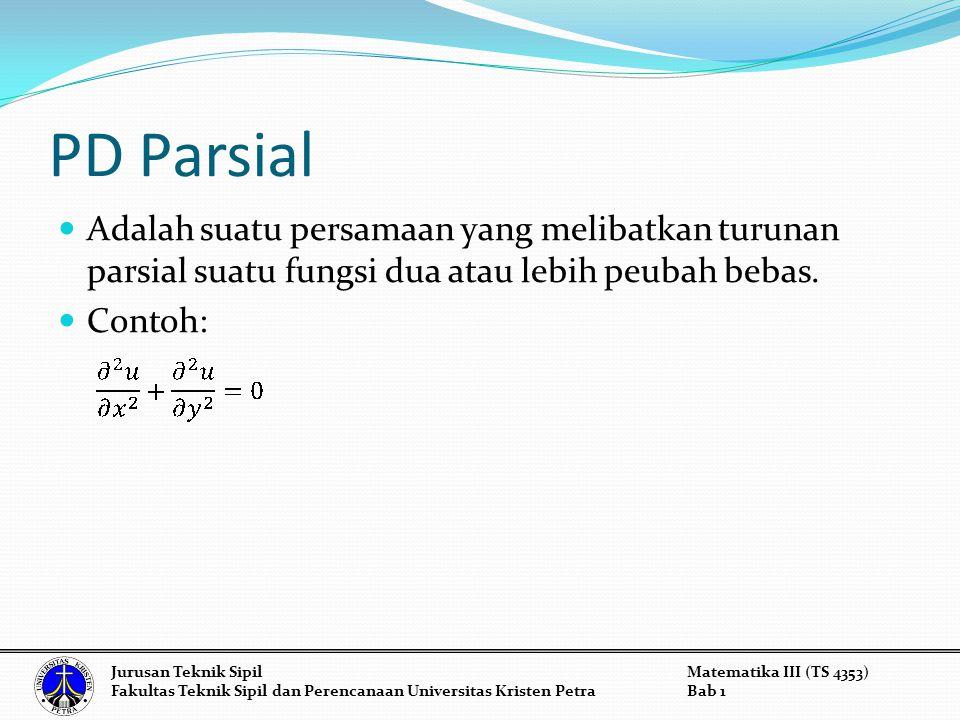 Example 2: y -6y'- 7y = 0substitute k 2 – 6k - 7 = 0 (k+1)(k-7) = 0 k 1 = -1 or k 2 = 7 y -6y'- 7y = 0 Jurusan Teknik SipilMatematika III (TS 4353) Fakultas Teknik Sipil dan Perencanaan Universitas Kristen PetraBab 1