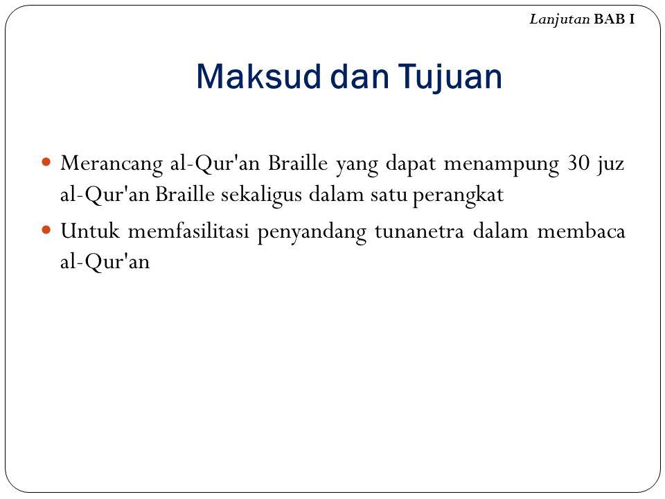 Maksud dan Tujuan Merancang al-Qur'an Braille yang dapat menampung 30 juz al-Qur'an Braille sekaligus dalam satu perangkat Untuk memfasilitasi penyand