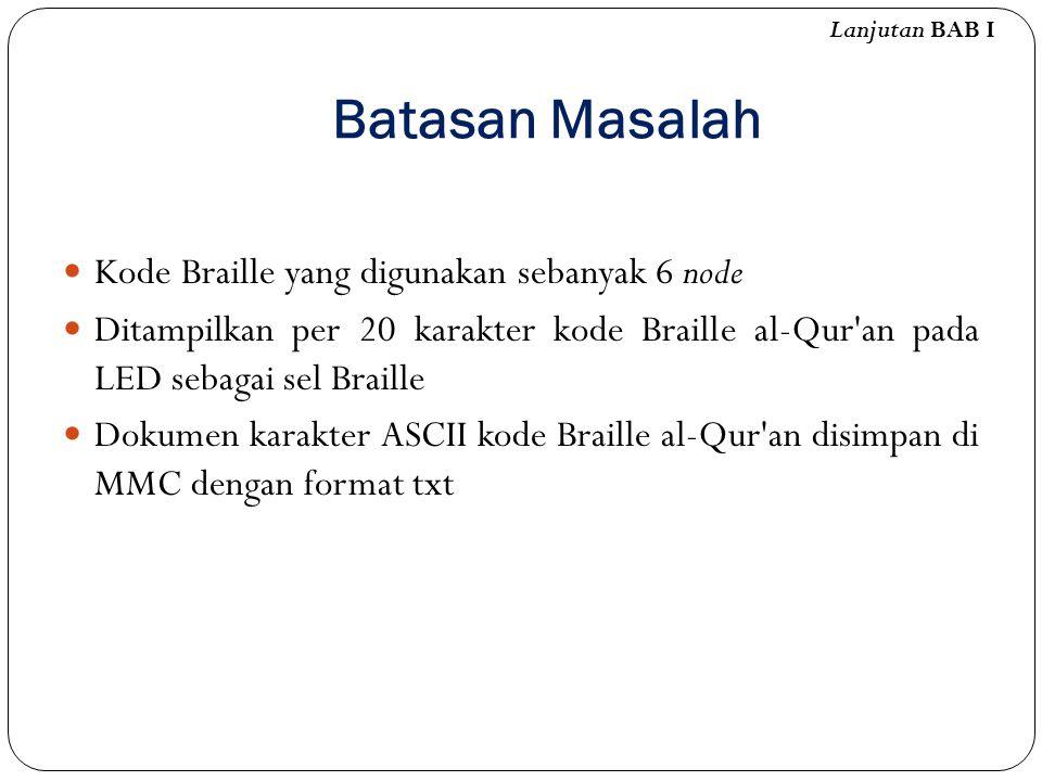 Batasan Masalah Kode Braille yang digunakan sebanyak 6 node Ditampilkan per 20 karakter kode Braille al-Qur'an pada LED sebagai sel Braille Dokumen ka