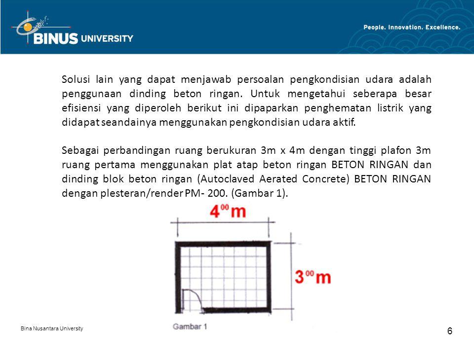 Bina Nusantara University 6 Solusi lain yang dapat menjawab persoalan pengkondisian udara adalah penggunaan dinding beton ringan.
