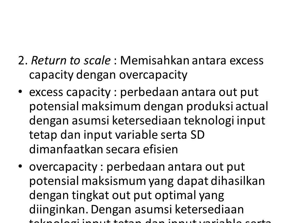 2. Return to scale : Memisahkan antara excess capacity dengan overcapacity excess capacity : perbedaan antara out put potensial maksimum dengan produk