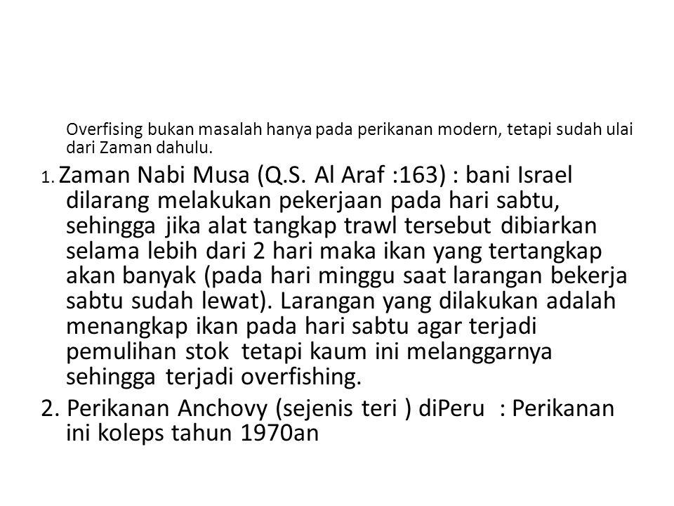 Overfising bukan masalah hanya pada perikanan modern, tetapi sudah ulai dari Zaman dahulu. 1. Zaman Nabi Musa (Q.S. Al Araf :163) : bani Israel dilara