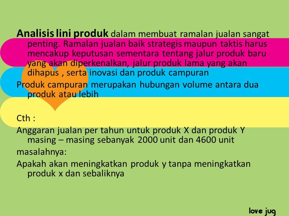 Analisis lini produk dalam membuat ramalan jualan sangat penting. Ramalan jualan baik strategis maupun taktis harus mencakup keputusan sementara tenta