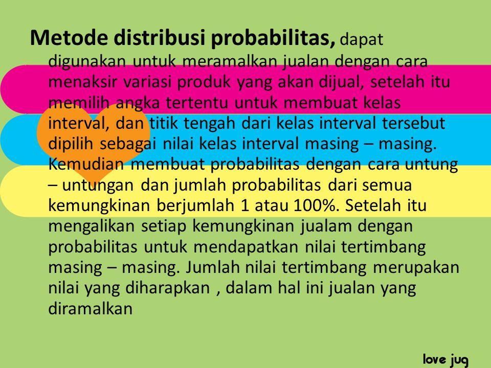 Metode distribusi probabilitas, dapat digunakan untuk meramalkan jualan dengan cara menaksir variasi produk yang akan dijual, setelah itu memilih angk