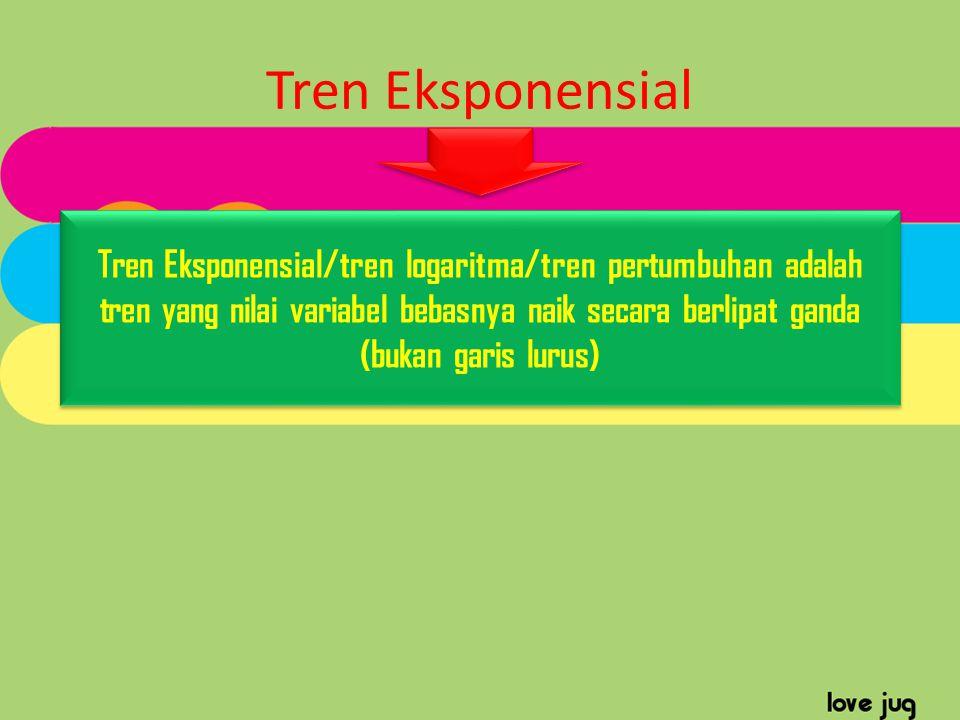Tren Eksponensial Tren Eksponensial/tren logaritma/tren pertumbuhan adalah tren yang nilai variabel bebasnya naik secara berlipat ganda (bukan garis l