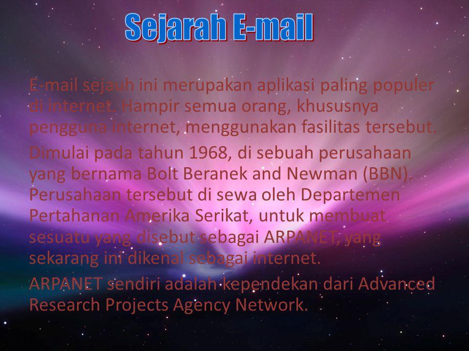 E-mail sejauh ini merupakan aplikasi paling populer di internet.