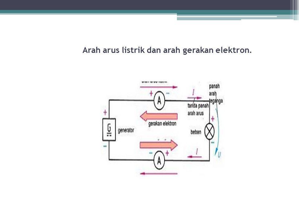 Arah arus listrik dan arah gerakan elektron.