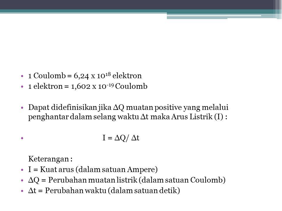 1 Coulomb = 6,24 x 10 18 elektron 1 elektron = 1,602 x 10 -19 Coulomb Dapat didefinisikan jika ∆Q muatan positive yang melalui penghantar dalam selang