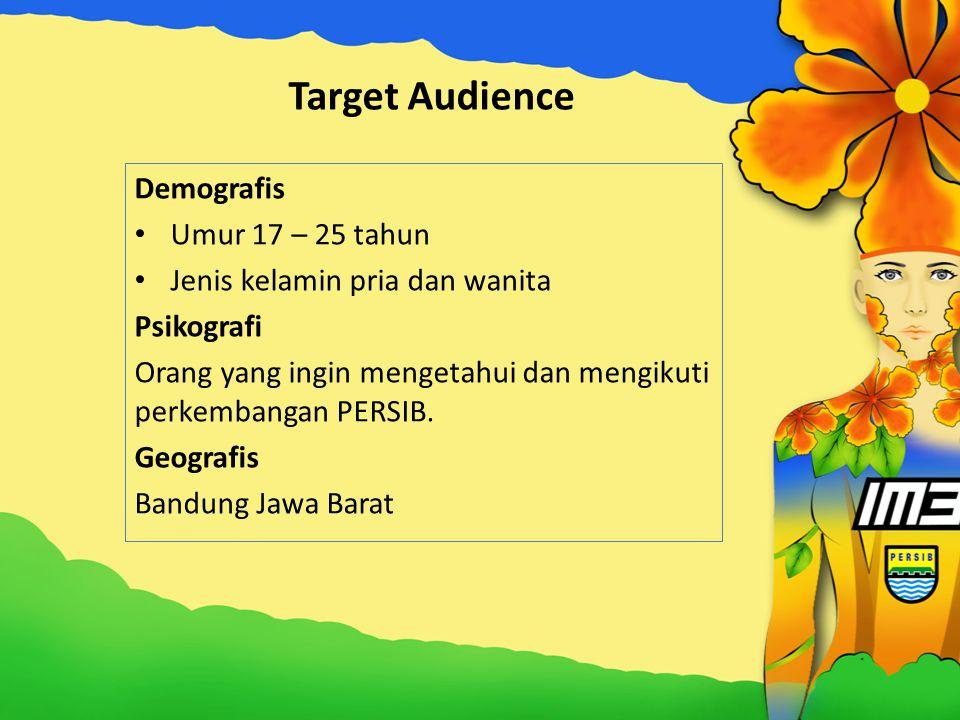 Target Audience Demografis Umur 17 – 25 tahun Jenis kelamin pria dan wanita Psikografi Orang yang ingin mengetahui dan mengikuti perkembangan PERSIB.