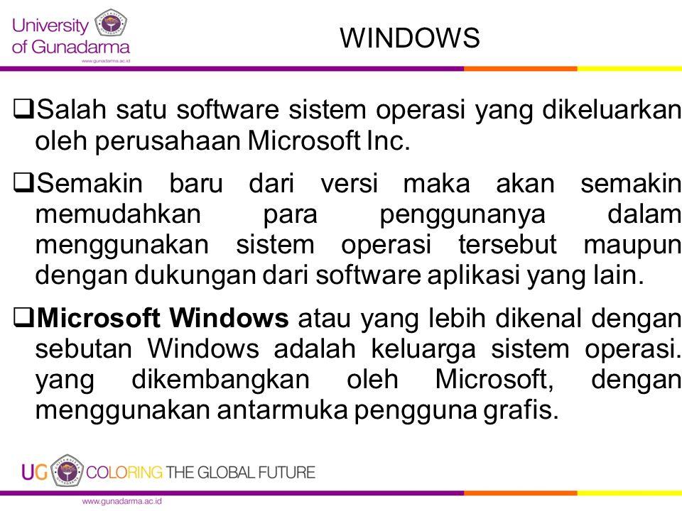 WINDOWS  Salah satu software sistem operasi yang dikeluarkan oleh perusahaan Microsoft Inc.  Semakin baru dari versi maka akan semakin memudahkan pa