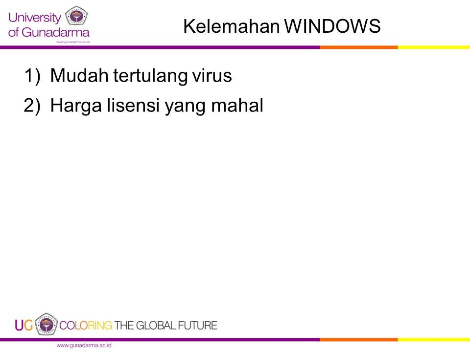 Kelemahan WINDOWS 1)Mudah tertulang virus 2)Harga lisensi yang mahal