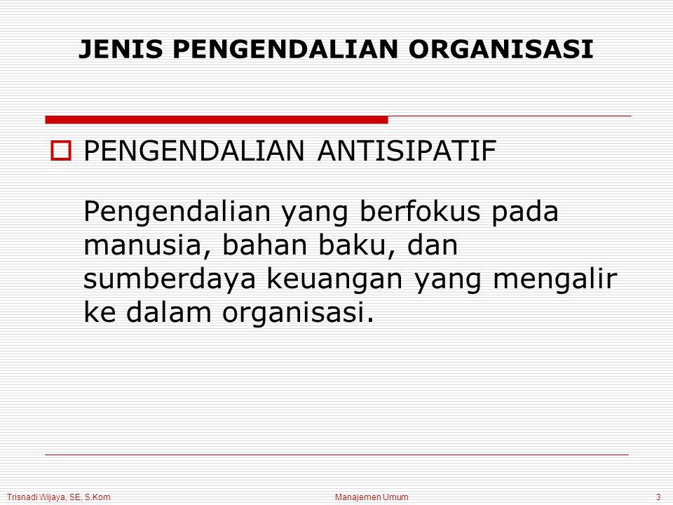 Trisnadi Wijaya, SE, S.Kom Manajemen Umum4  PENGENDALIAN BERSAMA Pengendalian yang terdiri dari pemantauan aktivitas berjalan untuk memastikan bahwa aktivitas tersebut konsisten dengan standar JENIS PENGENDALIAN ORGANISASI