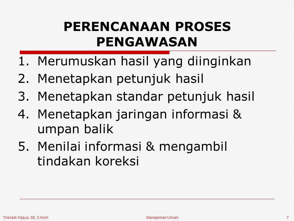 Trisnadi Wijaya, SE, S.Kom Manajemen Umum7 PERENCANAAN PROSES PENGAWASAN 1.Merumuskan hasil yang diinginkan 2.Menetapkan petunjuk hasil 3.Menetapkan s